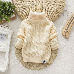Kids Girl Sweater Tricots Turtleneck Pullover Baby Winter Tops Solid Color Sweaters Autumn Boy Girl Warm Sweater Pull - shopbabyitems