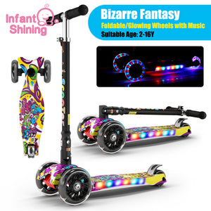 Infant Shining Kid Scooter 2-16Y Height Adjustable Foldable Children Balance Bike Light Flash Baby Ride on Toy Gift for Boy Girl - shopbabyitems
