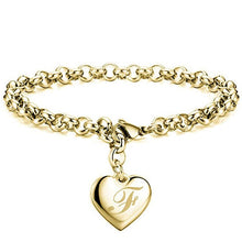 Load image into Gallery viewer, Initial Charm Gold-Color Bracelets Stainless Steel Heart 26 Letters Alphabet Bracelet - shopbabyitems