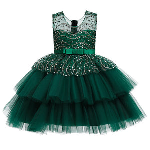 Ins Performance Host Christmas Dresses 2020 New Girls Mesh Sequin Dress Little Girl Sleeveless Cute Fairy Puffy Princess Dresses - shopbabyitems