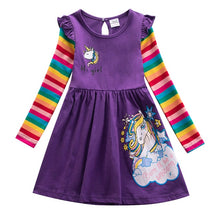 Load image into Gallery viewer, Girl Cotton Unicorn Cartoon Rainbow Stripe Flower Long Sleeve Dress Pony Girls Autumn Winter Casual Dresses for 3-8 Year - shopbabyitems