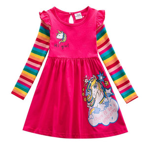Girl Cotton Unicorn Cartoon Rainbow Stripe Flower Long Sleeve Dress Pony Girls Autumn Winter Casual Dresses for 3-8 Year - shopbabyitems