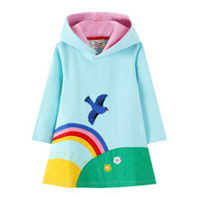 Load image into Gallery viewer, Jumping Meters New Arrival 2020 Unicorn Princess Hooded Dress for Autumn Winter Stripe Fashion Children Cotton Clothing Baby - shopbabyitems