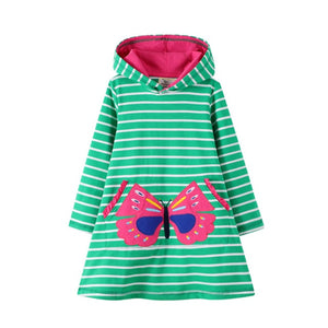 Jumping Meters New Arrival 2020 Unicorn Princess Hooded Dress for Autumn Winter Stripe Fashion Children Cotton Clothing Baby - shopbabyitems