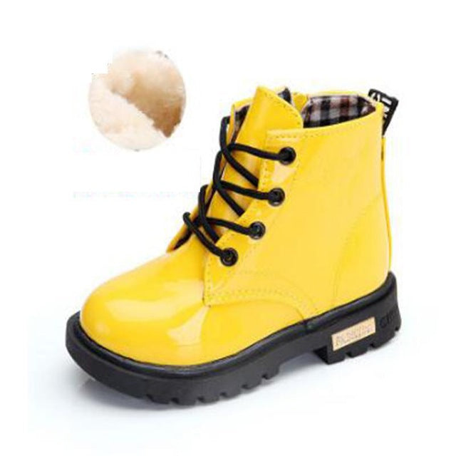 Leather Botas Boys Girls Waterproof Plush Snow Boots Toddler Sneakers Boots - shopbabyitems