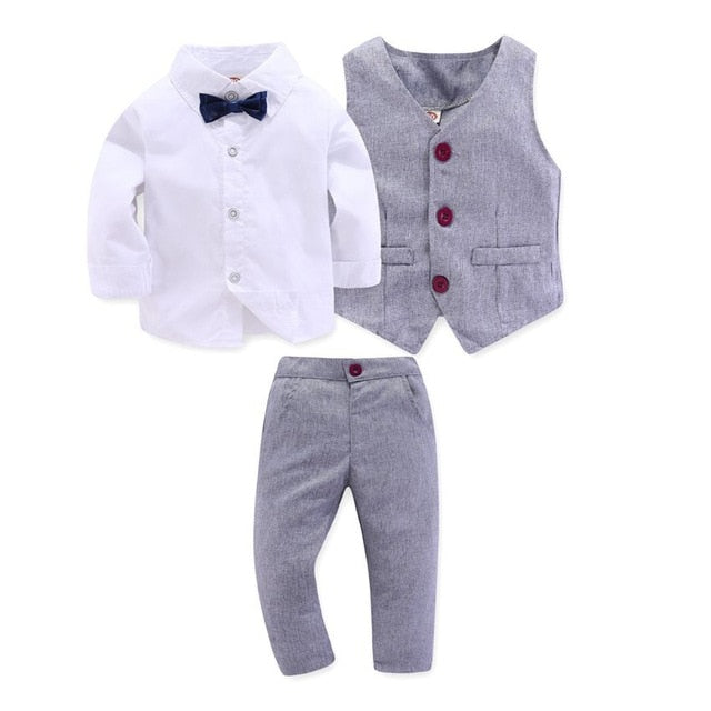 Kid Boy Clothes Gentleman Grey Vest + Long-Sleeved White Shirt + Pants Kids Four-Piece Suits Suit For Children Outfit - shopbabyitems