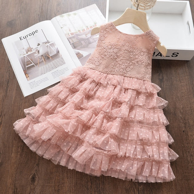 Kids Girl Ball Gown Dress NEW White Toddler Girl Summer Lace Dress  8 9 10Year Princess Birthday Party Dress Children Clothing - shopbabyitems