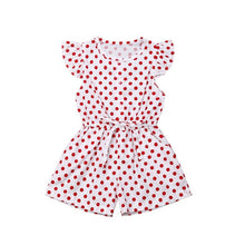 Load image into Gallery viewer, Kids Girls Dot Print Short Sleeve Sweet Jumpsuit Bodysuit Baby Kids Children Casual Outfits - shopbabyitems