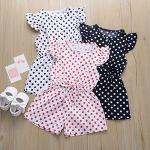 Kids Girls Dot Print Short Sleeve Sweet Jumpsuit Bodysuit Baby Kids Children Casual Outfits - shopbabyitems