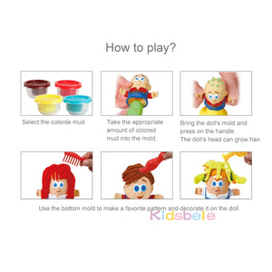 Kids Toy Hairstylist Clay Toys For Children Modeling Clay Color Mud Dough Handmade Baby Pretend Barber Role Play Educational Toy - shopbabyitems