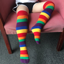 Load image into Gallery viewer, Knee High Socks for Girls Boys Kids Casual Fashion Stripes Toddler Long Tall Rainbow Socks Children Soft Cotton Kids Socks D30 - shopbabyitems