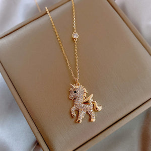 Korean Personality Simple Rhinestones Unicorn Pendant Necklace Temperament Sweet Girl Women Fashion Jewelry Accessories - shopbabyitems