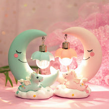 Load image into Gallery viewer, LED Night Light Unicorn Moon Resin Cartoon Night Lamp - shopbabyitems