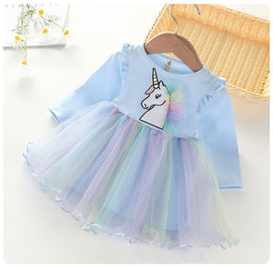 Autumn Winter Kids Casual Long Sleeve Dress For Girls Unicorn Party Rainbow Tutu Princess Dress Children Clothing 2-7 Years - shopbabyitems