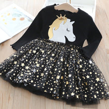 Load image into Gallery viewer, Autumn Winter Kids Casual Long Sleeve Dress For Girls Unicorn Party Rainbow Tutu Princess Dress Children Clothing 2-7 Years - shopbabyitems