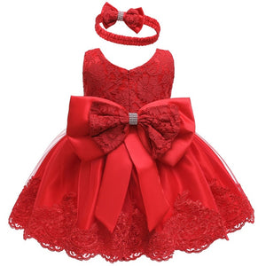 New Infant Red Dress Newborn Clothes Costumes Baby Bow Princess Party Dresses - shopbabyitems