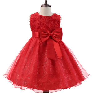 Lace Princess Girl Dress For Girls Christmas Birthday Party Clothing Kid Wedding Red Flower Dresses Children Winter Prom Costume - shopbabyitems