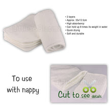 Load image into Gallery viewer, Reusable Washable Inserts Boosters Liners For Real Pocket Cloth Nappy Diaper microfibre bamboo charcoal insert - shopbabyitems