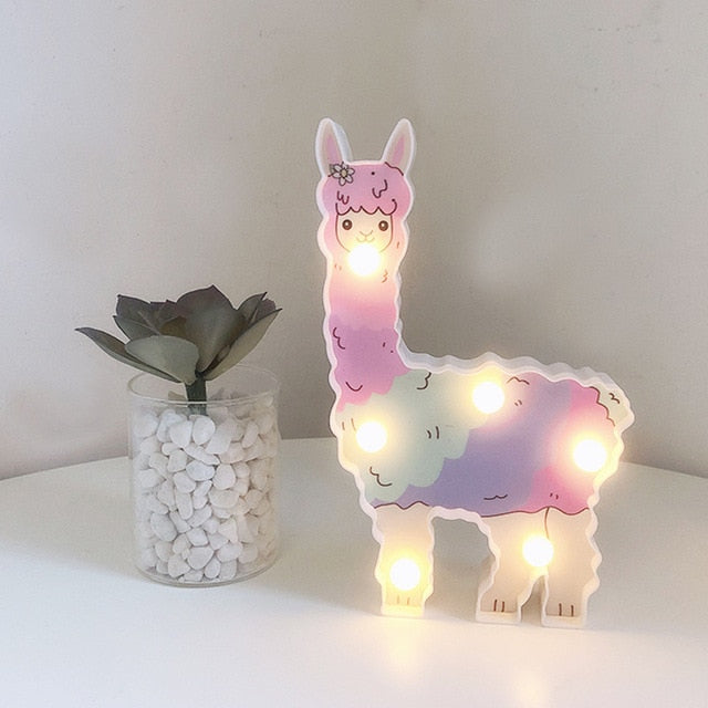 Llama Decor Toys for Kids Wall Decoration Night Lamp for Pregnant Woman, Kids, Baby Shower, Nursery, Battery Operated Nightlight - shopbabyitems