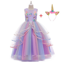 Load image into Gallery viewer, Long Girl Christmas Unicorn Princess Dress Children Wedding Party Floral Dresses Winter Clothes For 10 12 15 Girls Kids Costume - shopbabyitems