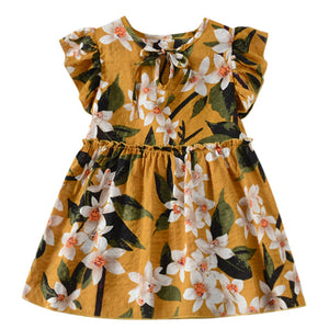 Toddler Baby Dress Kids Girls Clothes Fly Sleeve Ribbons Ruched Floral Dress - shopbabyitems