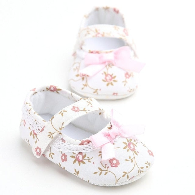Mary Jane Ballet Dress Baby Toddler First Walkers Crib Floral Soft Soled Anti-Slip Shoes - shopbabyitems