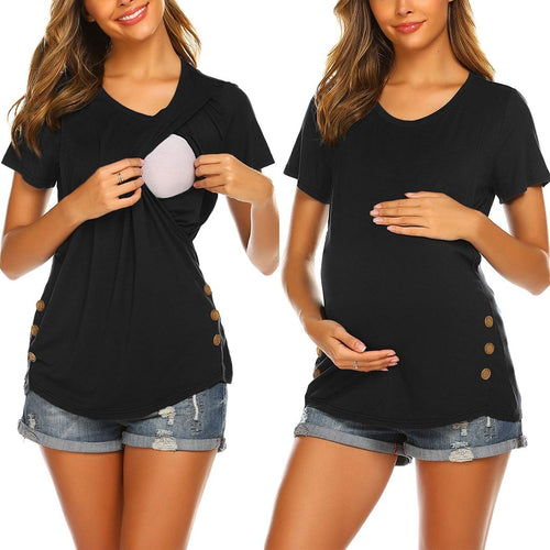Maternity T-shirt Women Short Sleeve Side Button Tunic Nursing Tops For Breastfeeding Summer O-neck Casual Pregnancy Clothes - shopbabyitems