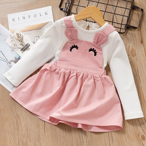 Cute Girls Long Sleeve T-shirt Tops Cartoon Giraffe Dress 2pcs Suit - shopbabyitems