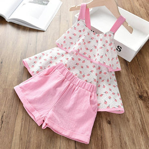 Floral Children Sleeveless T-shirt+Solid Shorts 2PCS Kids Suit - shopbabyitems