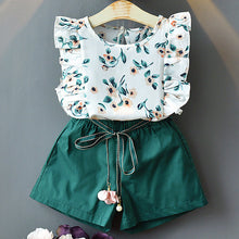 Load image into Gallery viewer, Floral Children Sleeveless T-shirt+Solid Shorts 2PCS Kids Suit - shopbabyitems