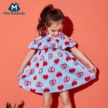 Load image into Gallery viewer, Toddler Girls 100% Cotton Shoulder Dress with Ruffle Trim Children Kids Girl Flared Dresses Summer Sundress - shopbabyitems
