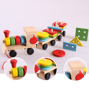 Models Building Toy Train Building Blocks Educational Kids Baby Wooden Solid Stacking Toddler Block Toy for Children Gifts - shopbabyitems