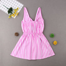 Load image into Gallery viewer, Mother Daughter Summer Striped Dress Family Matching Women Kid Girls Clothes Sleeveless Strap Bowknot Knee-Length Beach Dress - shopbabyitems