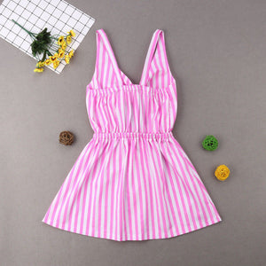 Mother Daughter Summer Striped Dress Family Matching Women Kid Girls Clothes Sleeveless Strap Bowknot Knee-Length Beach Dress - shopbabyitems
