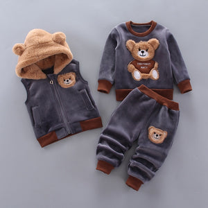 Baby Boy Clothes 2020 Winter Pure Cotton Thick Warm Casual Hooded Sweater Cartoon Cute Bear Three-Piece Baby Girl Suit - shopbabyitems