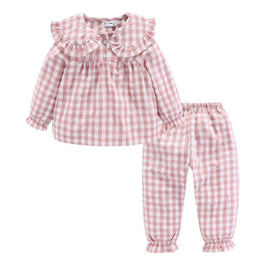 Girls Pajama Set Peter Pan Collar Cute Plaid Kids Homewear Casual Toddler Pajamas Kids Sleepwear - shopbabyitems