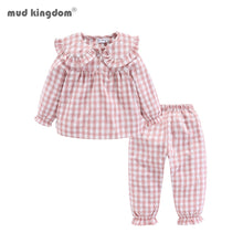 Load image into Gallery viewer, Girls Pajama Set Peter Pan Collar Cute Plaid Kids Homewear Casual Toddler Pajamas Kids Sleepwear - shopbabyitems