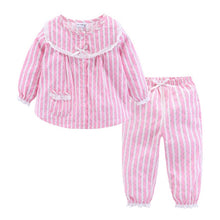 Load image into Gallery viewer, Mudkingdom Girls Vertical Stripe Pajamas Cotton Button Lace Cuff Cute Home Wear - shopbabyitems