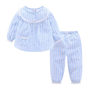 Mudkingdom Girls Vertical Stripe Pajamas Cotton Button Lace Cuff Cute Home Wear - shopbabyitems