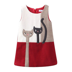 Mudkingdom Little Girls Dresses Sleeveless Wool Cute Cats Cartoon Winter A-Lined Kids Dress Girls Clothes - shopbabyitems