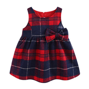 Little Girls Sleeveless Dress Faux Wool Cute Plaid Kids Dress Winter Girls Clothes - shopbabyitems