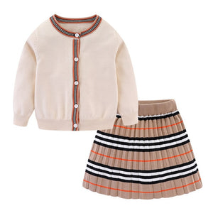 Winter Toddler Girls Clothes Set Long Sleeve Sweater Cardigan Skirt Striped Dress Outfits for Kids Girls Clothes - shopbabyitems