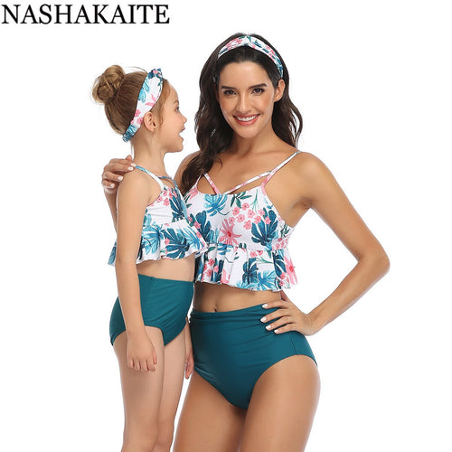 Family matching swimwear Mother daughter Leaf Print Ruffled High Waist Bikini Set 2020 New Mommy and me swimsuits - shopbabyitems
