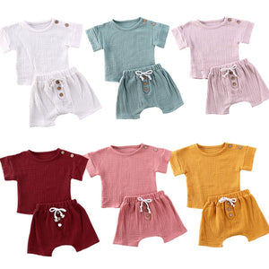 New 0-24M Baby Girls Boys Botton Clothes Outfits Cotton Summer Kids Short Sleeve Tops T-Shirts+Shorts Suits - shopbabyitems