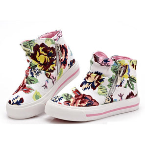 children canvas shoes for girls Flower Print children sneakers kid sport shoes - shopbabyitems