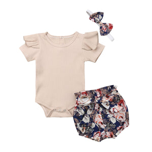New Adorable Newborn Baby Girls Tops Romper Bodysuit Briefs Shorts Outfits Clothes - shopbabyitems