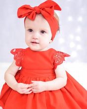 Load image into Gallery viewer, Christmas Ruffle Red Lace Romper Dress Baby Girls Sister Princess - shopbabyitems