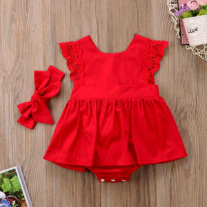 Christmas Ruffle Red Lace Romper Dress Baby Girls Sister Princess - shopbabyitems