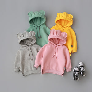 New Baby Boys Girls Autumn Sweater Cute Hoded Clothes Korean Version Warm Plus Velvet Sweatershirt  Baby Out Wear - shopbabyitems