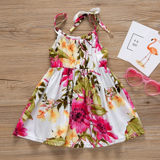 New Baby Girl Clothes Floral Printed Cotton Children Strap Toddler Girls Dresses Summer 2020 Casual Princess Teenage Kids Dress - shopbabyitems